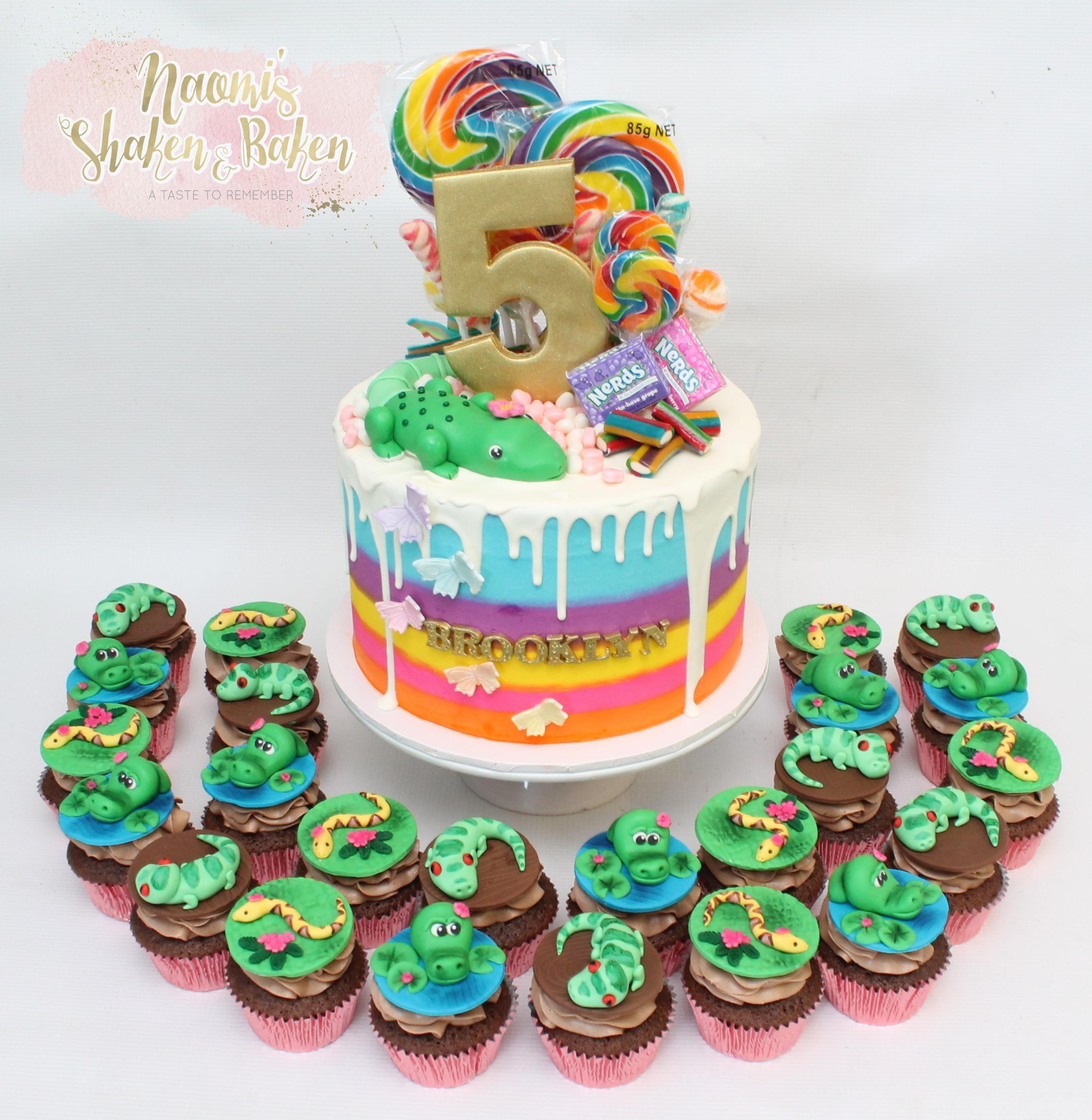 Girl reptile rainbow cake & cupcakes