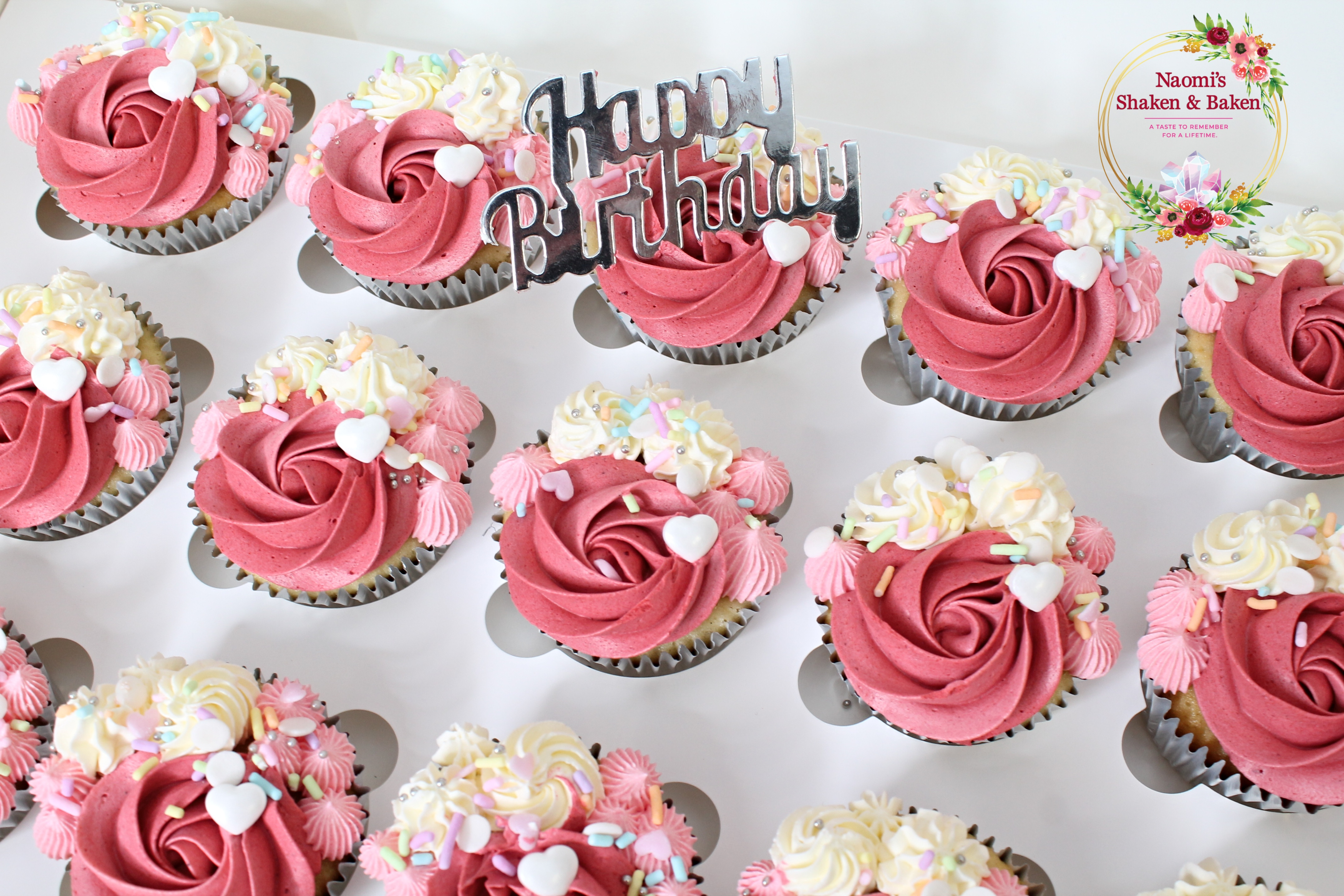 Happy Birthday Cupcakes In Mixed Pink For a 30th