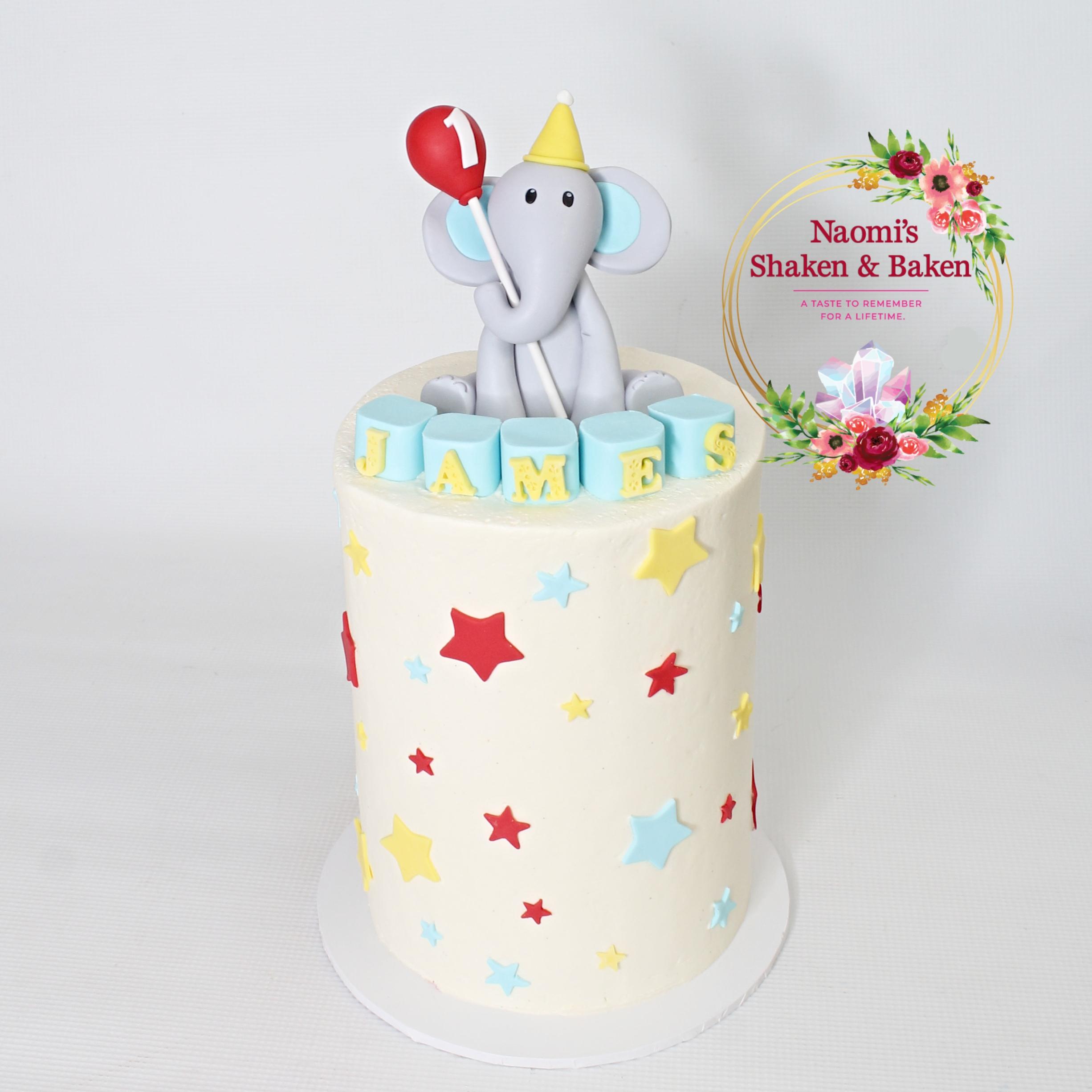 Happy 1st Birthday Elephant Cake