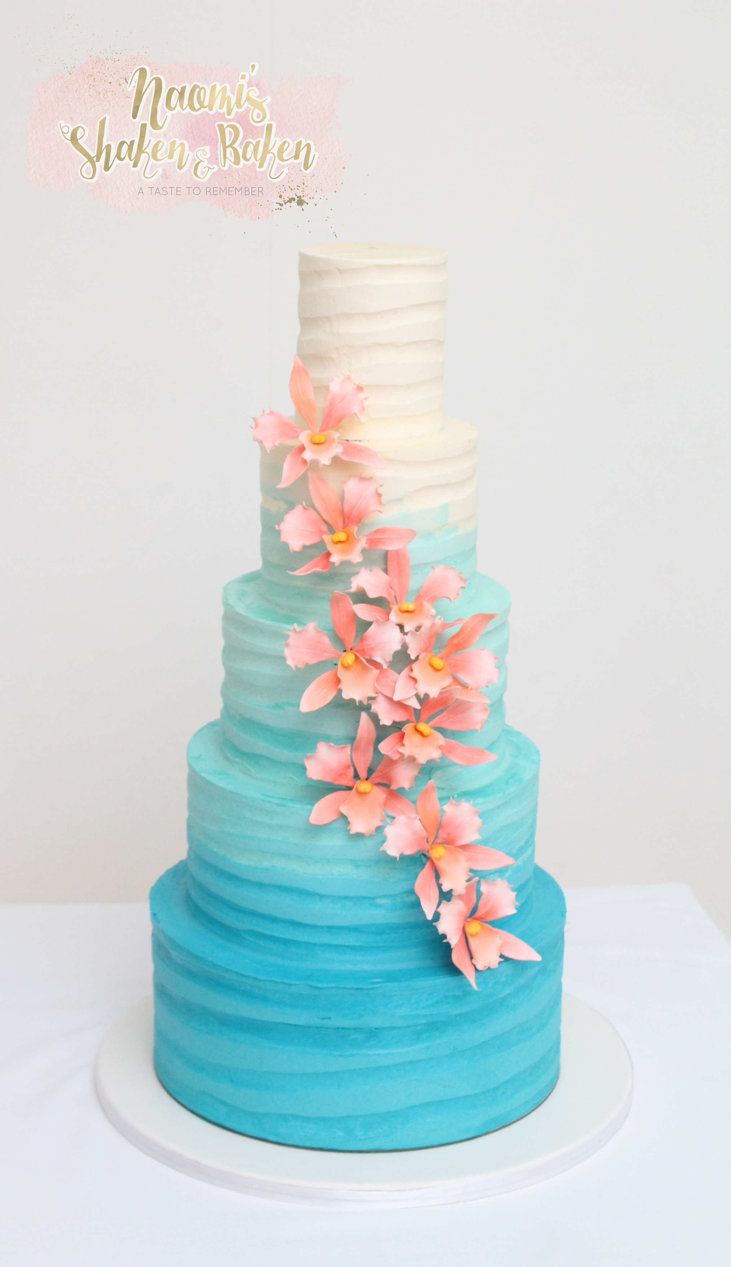 Ombre 5 tier wedding cake