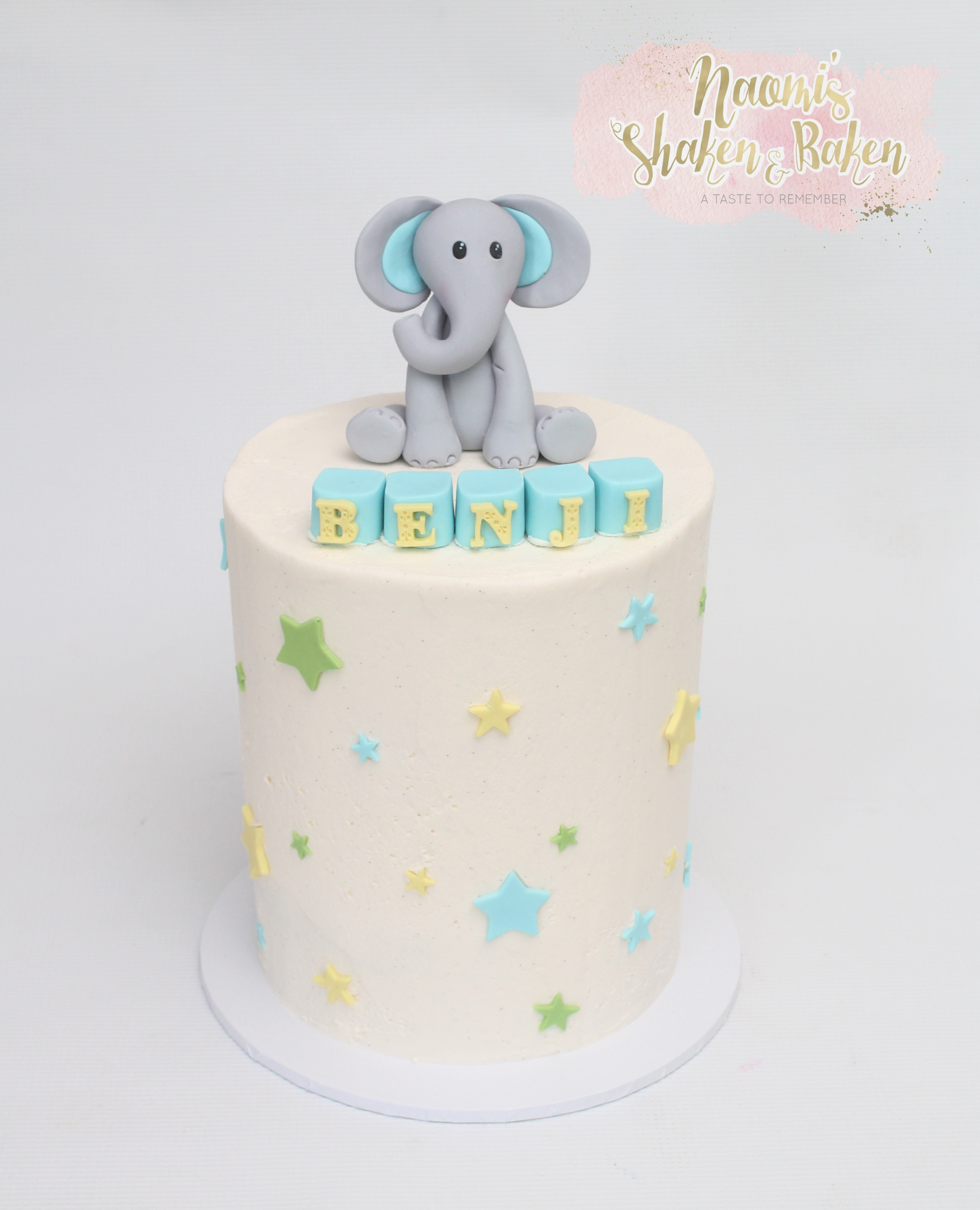 Naming Day Cake Cute Elephant