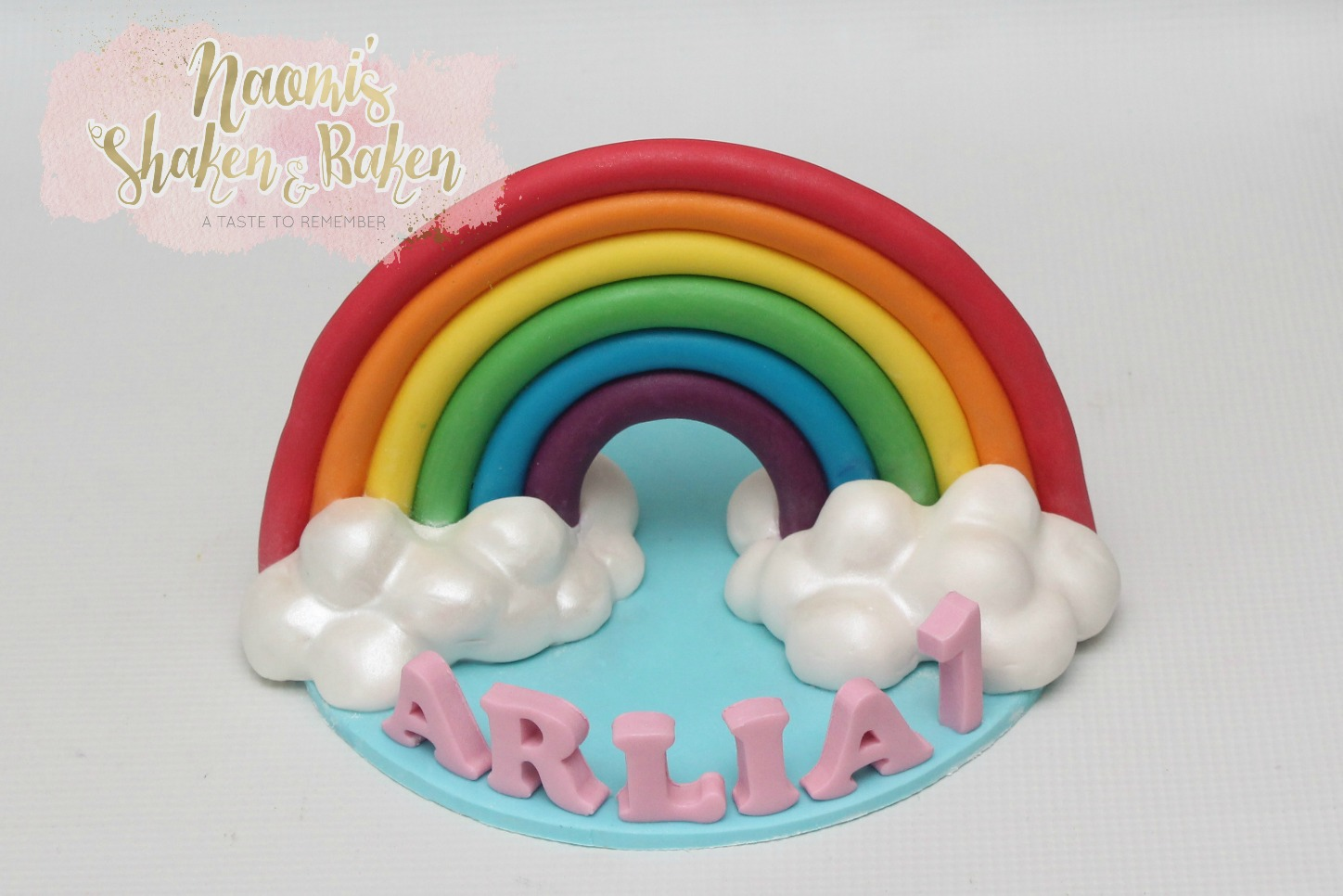 "7"" large edible rainbow cake topper"