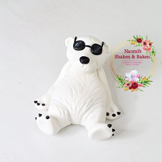 1x 3D Edible Polar Bear Bundy Fondant Cake Topper Caboolture