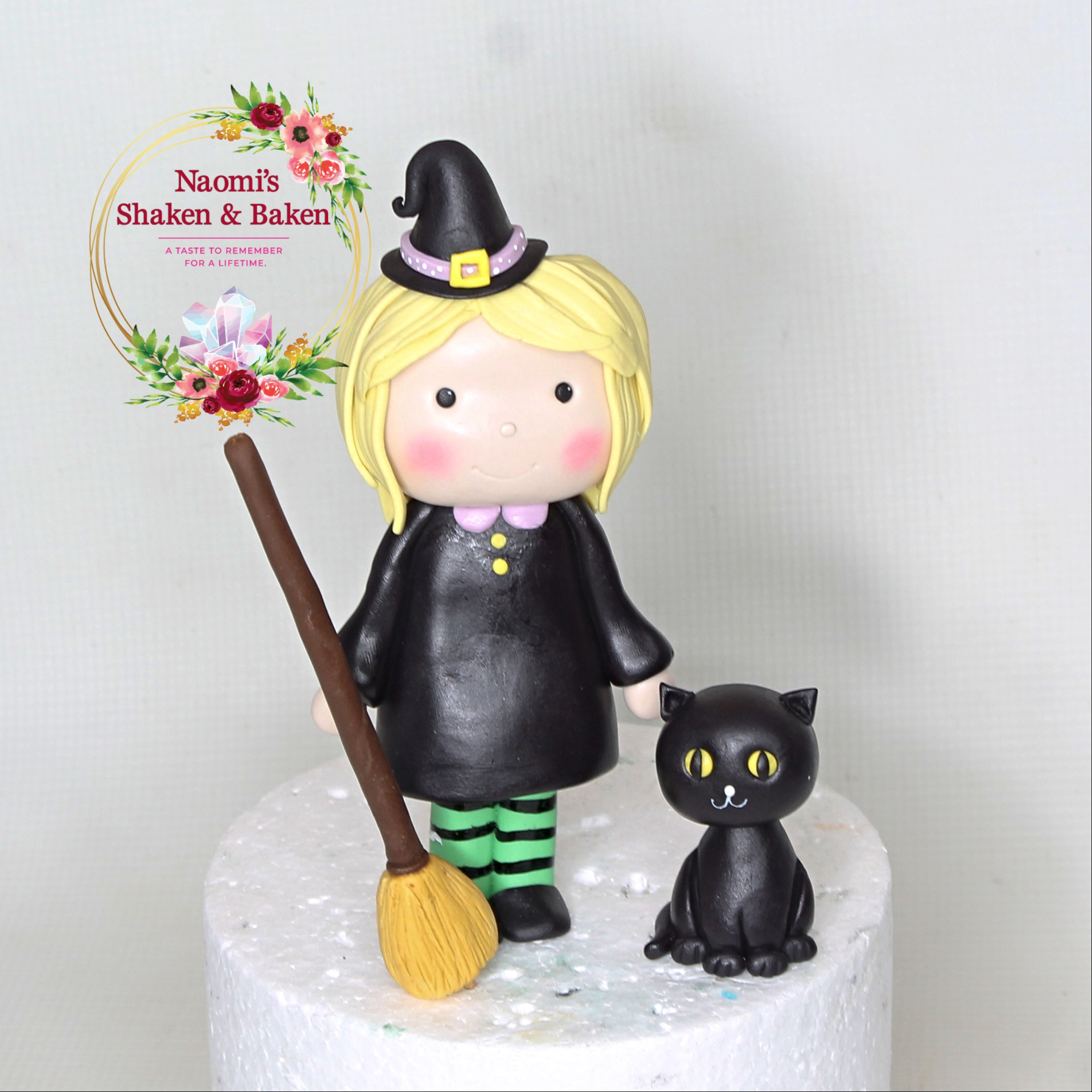 Edible Fondant Cute Witch Cat and Broom Cake Topper Caboolture