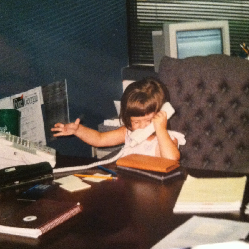 Playing boss in Dad's office circa 1998