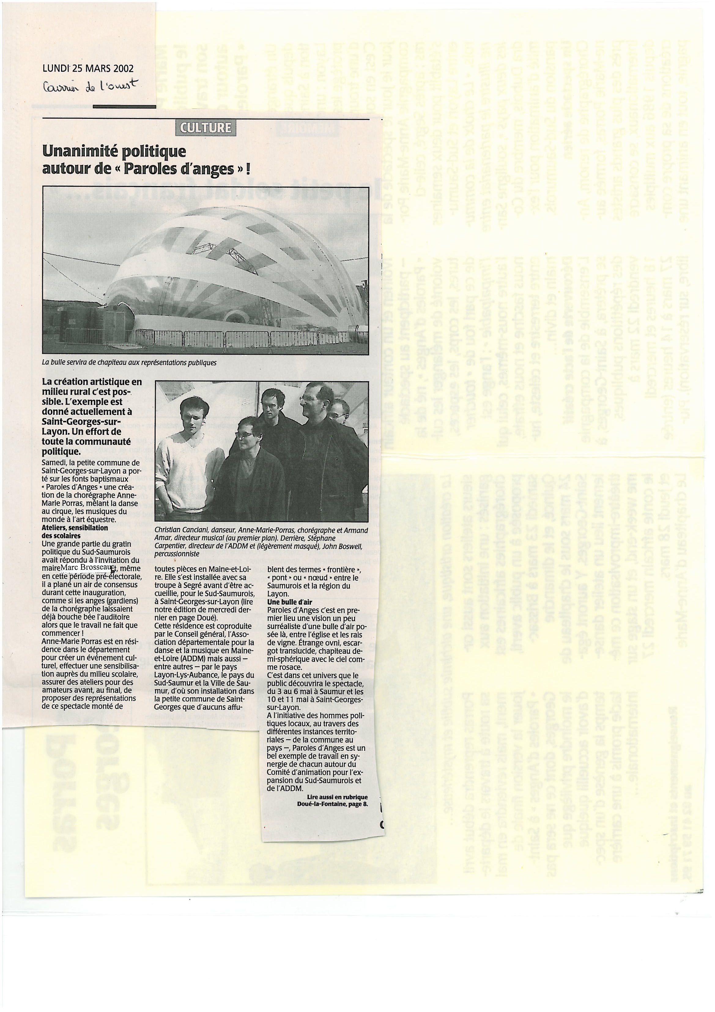 courrier ouest 25 mars 2002
