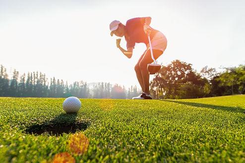 Sport Healthy. Golfing game. Asian ladie