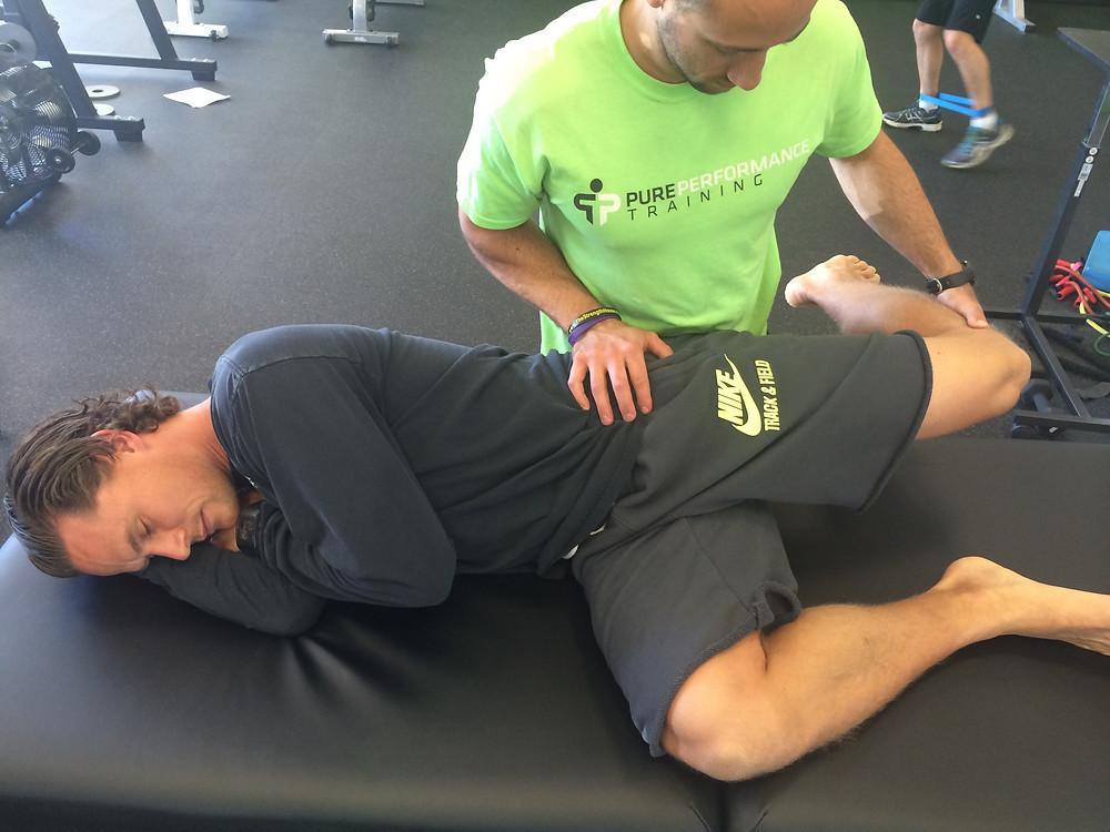 Sidelying Hip flexor stretch with partner