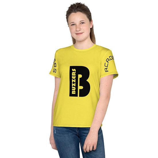 Buzzers 'B' Logo & Print Youth T-Shirt - Yellow (AGES 7-14)