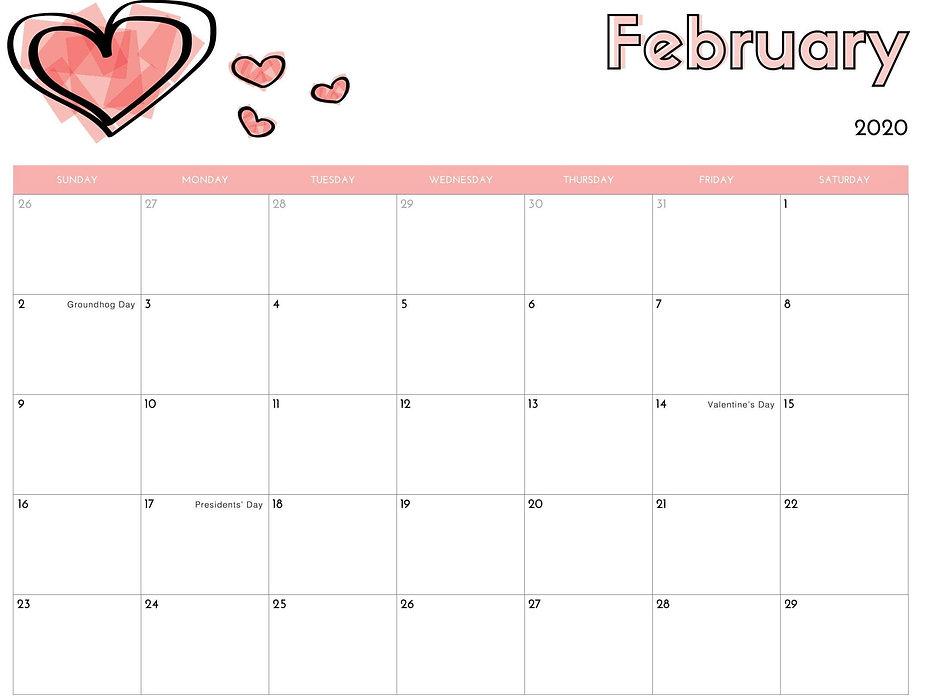 February-2020-Calendar-US-School-Holiday