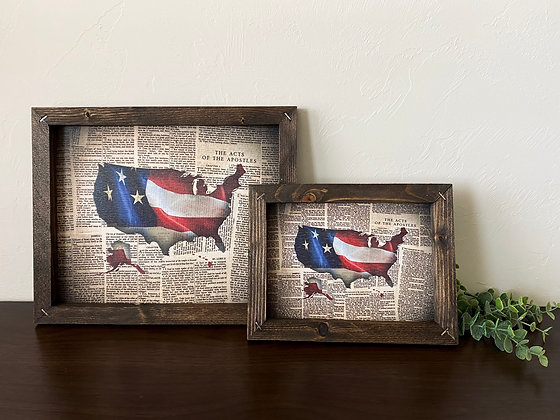Framed USA on Bible Pages