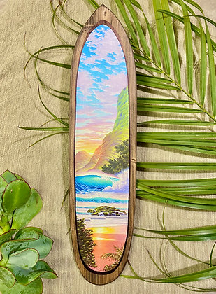 Kauai Coast on Hand carved surfboard