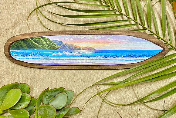 Napali Coast on Hand carved surfboard