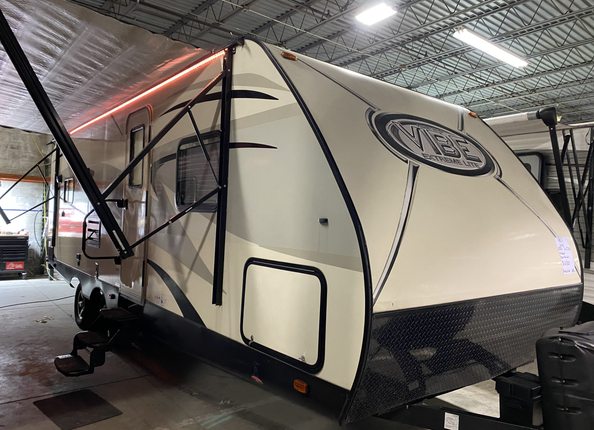 2017 Forest River Vibe Extreme Lite. Model number is 224RLS. Camper is 22 feet long. Dry weight is 5000 pounds. Has one slideout. Electric awning and electric stabilizer jacks. Has a power tongue jack. Very nice camper inside and out. Living room and kitchen in the back. Dinette and couch folds down into a bed. Everything works as it should. Bathroom and bedroom up front. Stand up shower in the bathroom. Private bedroom up front. Sleeps 4-6 comfortably. Does have a rebuilt title. Claimed out as fire damage, had a stove vent melted and the door window is melted. Priced at $16,800