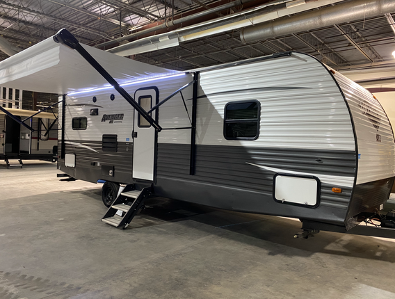 2019 Primetime Avenger ATI. Model number is 24RLS. Camper is 24 feet long. Dry weight is 6000 pounds. Has one slideout. Brand new electric awning with LED strip and manual jacks. Solid fold out steps. Inside is very nice. Small open floor plan. U- shaped dinette. Couch against the back wall and kitchen beside it. Couch and dinette fold down into beds. Bathroom and bedroom up front. Spot for a queen size bed. Does have a rebuilt title from awning being ripped off and dents resulting in it. Priced at $17,500.