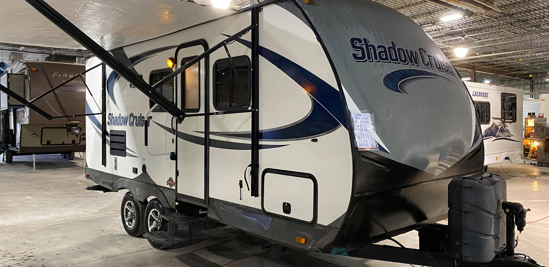2016 Shadow Cruiser 19ft 1 slide out. Very nice clean camper. Power awing. Queen size bed up front. Hide a bed couch. Big bathroom in rear. Corner shower. Lots of cabinets and storage. Dry wieght is 4,400 pounds. Pulls easy. Rebuilt Title $12,000
