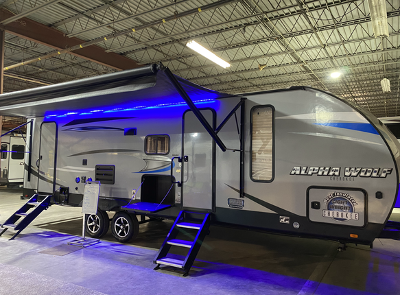 2020 Forest River Cherokee Alpha Wolf. Model number is 26DBH-L. Camper is 26 feet long. Dry weight is 5800 pounds. Big electric awning and manual stabilizer jacks. Lots of blue LED lights. Two Solid Step fold out steps. Does have the Arctic Package. Inside is very nice with lots of cabinet space. Dinette and couch fold down into beds. Everything works as it should. Full size bunkbeds in the corner. Outside access door to the bathroom. Private bedroom up front. Sleeps 8-10 Comfortably. Does have a CLEAN TITLE. Priced at $25,500.