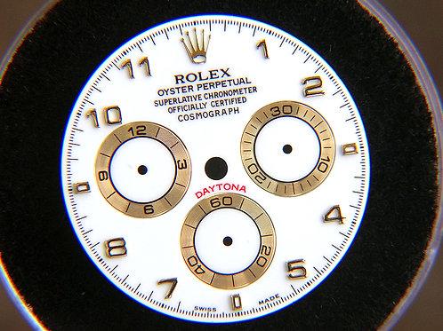 Genuine Rolex Daytona White Watch Dial with 18k Yellow Gold Arabic Markers