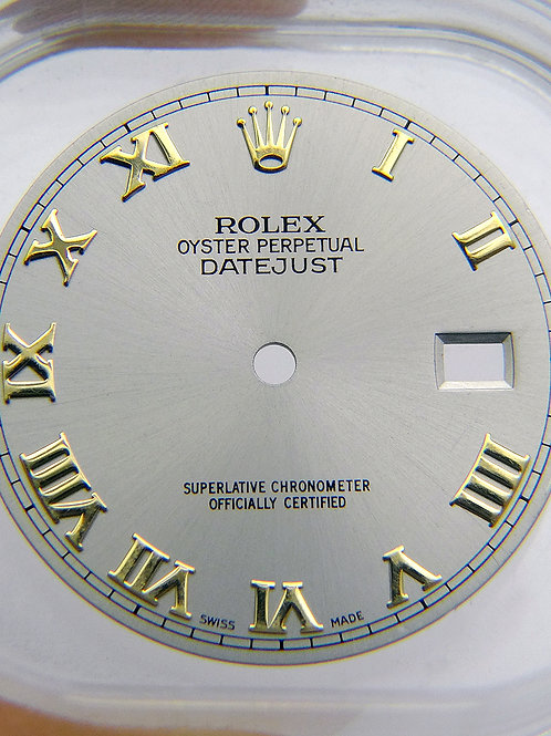Genuine Factory Rolex 36mm Datejust Silver Dial Yellow Gold Roman Numeral