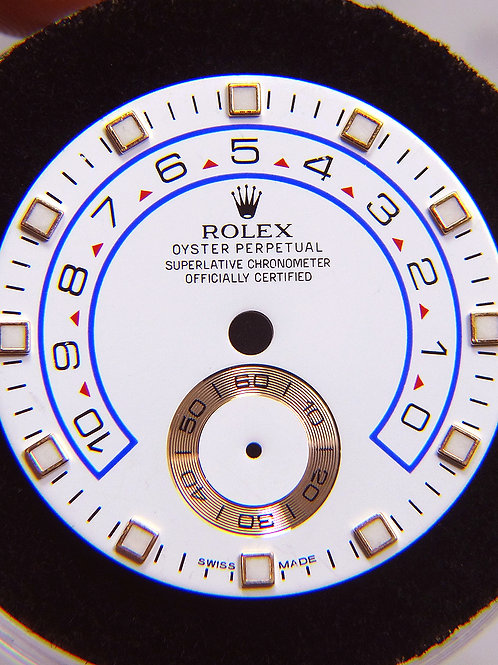 Genuine Rolex Yachtmaster II White & Blue Watch Dial with 18k Rose Gold Markers