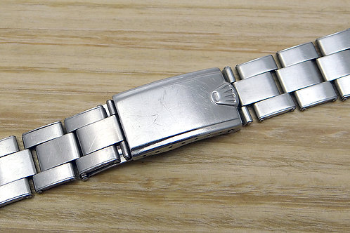 """Vintage Rolex 20mm Stainless Steel C&I Rivet Bracelet & """"Big Crown"""" Clasp 1976"""