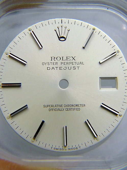 Vintage Genuine Factory Rolex 36mm Datejust Silver Dial with Stick Markers