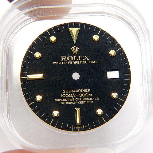 Vintage Genuine Rolex Submariner Matte Black & 18k Yellow Gold Nipple Watch Dial
