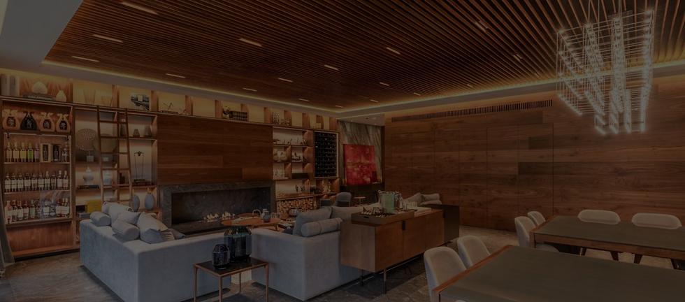 Residencial con deck y nogal en lambrín