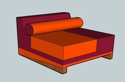 projet de chauffeuse orange et rouge