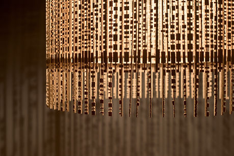 lustre en bois, pampille de bois design