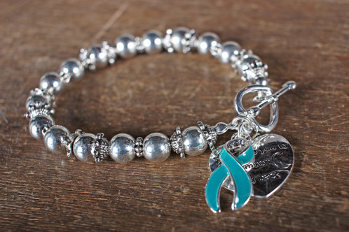 Silver Beads With Two Charms One Teal Ribbon And Heart That Says I Love You To The Moon Back They Are 7 1 2 Inches Wide Have Elastic