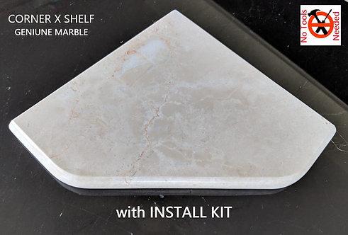 "EZ-Mount 8"" Marble Shower Corner Shelf with Install Kit (EZXD - Venetian Cream)"