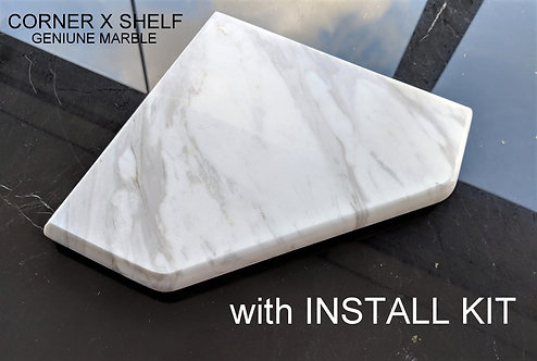 "EZ-Mount 8"" Marble Shower Corner Shelf with Install Kit (EZXD - Volakas White)"