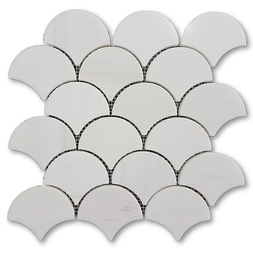 "Bianco Dolomite 3"" Fan Shape 