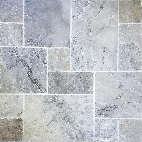Silver | Travertine Tile French Pattern