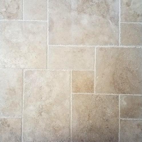 Walnut | Travertine Tile Versailles Pattern