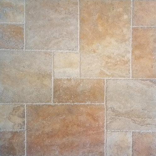 Golden Sunset | Travertine Tile Versailles Pattern
