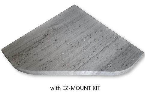 "EZ-Mount 8"" Marble Shower Corner Shelf with Install Kit (EZXD - Athena Grey)"