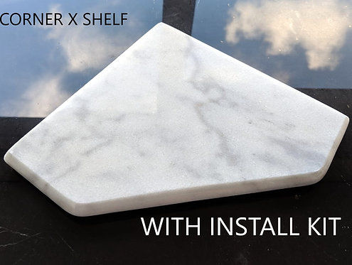"EZ-Mount 8"" Marble Shower Corner Shelf with Install Kit (EZXD - Bianco Ibiza)"