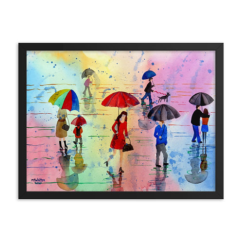 Red Umbrella Girl Framed poster