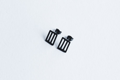 contemporary handmade oxidised silver minimal small square grid earrings