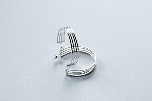 polished silver linear contemporary elegant hoop earrings