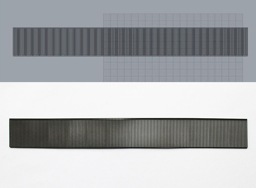 Two images next to each other. The top one is of a Rhino file of a strip with vertical lines on a dark grey background. The second image is a photo of the same strip, laser cut from card. The images show the progression of digital file to physical card.