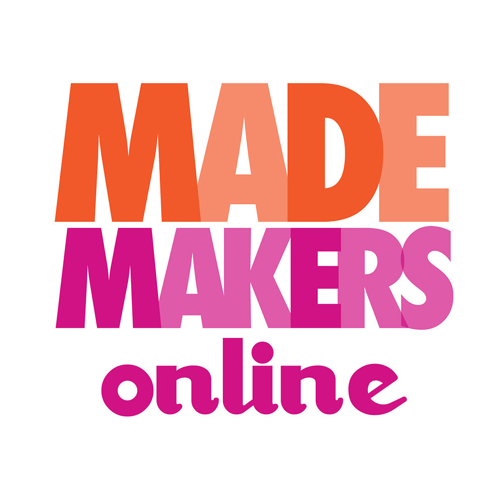 MADE MAKERS online logo in coral and fuchsia.