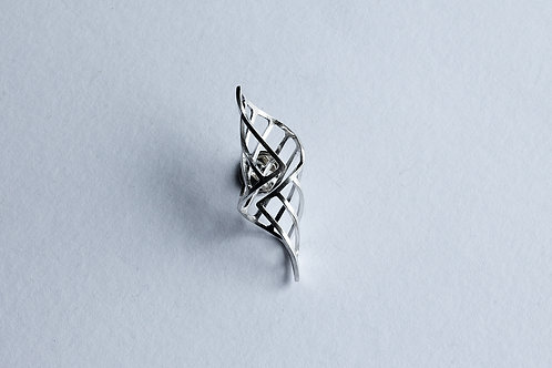small folded cocoon shaped linear polished silver pin