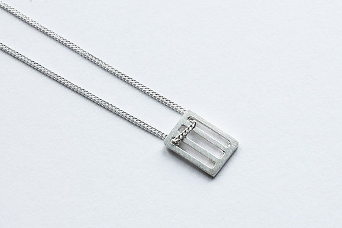 small polished silver rectangular grid minimal pendant