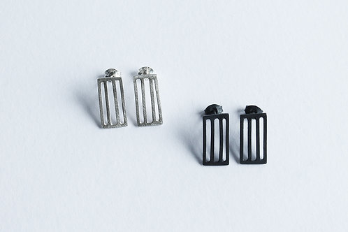 two pairs of silver minimal rectangular grid earrings in a blackened and polished finish