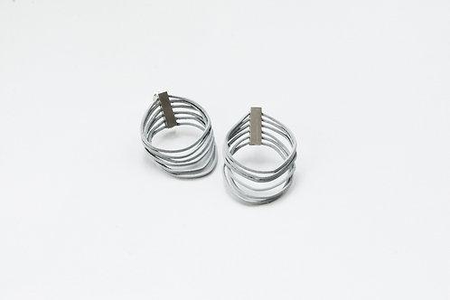 medium pair of grey loop earrings with silver clips