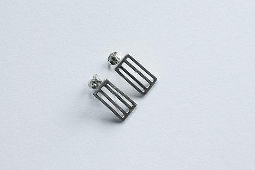 contemporary handmade polished silver minimal rectangular grid earrings