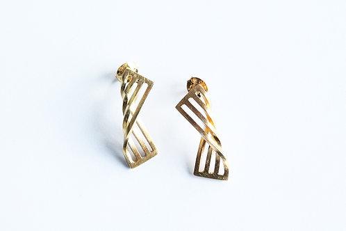 contemporary, handmade, elegant gold plated silver mini twist earrings